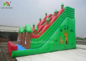 China Double Sewing Inflatable Dry Slide Green Forest Theme EN14960 CE EN71 wholesale