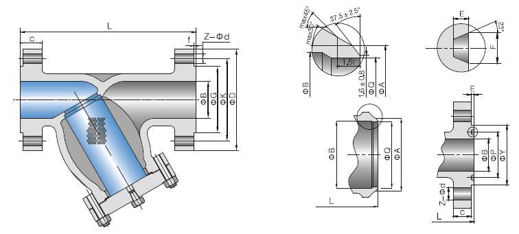 Y Type Strainre Dimensions Drawing 300LB