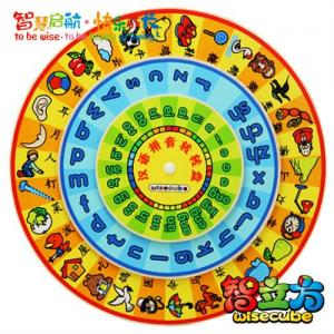 China Cheap Wooden Chinese Pinyin /Character Turntable Early Childhood Educational Toys for Kids on sale