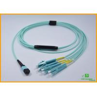 High Density PVC MPO Fiber Optic Cable Breakout Multimode OM3 CATV Networks