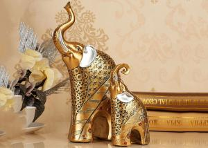 China Animal Resin Decoration Crafts , Gold Color Elephant Figurine Statue on sale