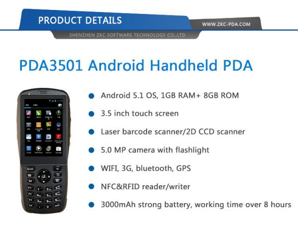 Android 5 1 Rugged Handheld 3G Wifi NFC RFID Reader 1D 2D