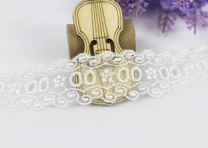 China Floral Embroidery Polyester Eyelet Lace Trim For Women Dresses / Home Textile on sale