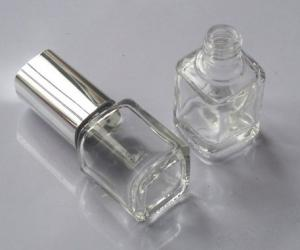 China Empty glass nail polish bottle with cap and brush on sale