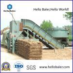 Prensa hidráulica horizontal automática do feno da palha com transporte