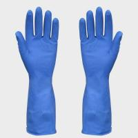 China Heavy Duty Industrial Household Latex Gloves Blue With Fish Scale Grip on sale