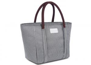 China Oxford Cloth Custom Insulated Tote Bags 100% Waterproof Stylish Striped Design on sale