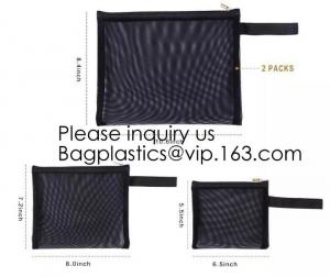 China Zipper Mesh Bags, Pack of 4 (S/M/L & Pencil Pouch), Beauty Makeup Cosmetic Accessories Organizer, Travel Toiletry Kit Se on sale