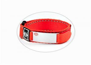 China Fashion Sport ID Bracelet / Nylon Velcro ID Wristband With Engraved Metal Plate on sale