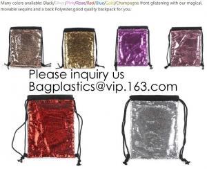 China Fashion Bling Sublimation Magic Sequin Drawstring Backpack Bag,Glitter Mermaid Flip Sequin Bag Outdoor Shoulder Reversib on sale
