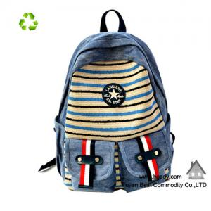China Fashion Women Ladies Backpack Canvas Stripe Leisure Bags on sale