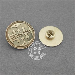 China nickel-zinc alloy electroplating ancient craft JS04 metal badge on sale