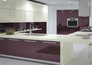 Modern High Gloss Lacquer Mdf Kitchen Cabinets With White Quartz