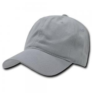 China Grey Cotton Baseball Caps , 6-Panel Hat With Velcro Back Closure For Boy on sale