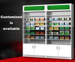 Customized Pharmacy Storage Cabinets Medicine Display Racks Glass Layer