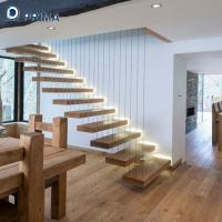 non-slip floating stairs with color painted oak wood treads and railings