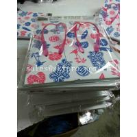 Foam Rubber Flip Flops White Soles With Flowers Leaves Pattern , Cut Out Plastic Strap Slippers Soles