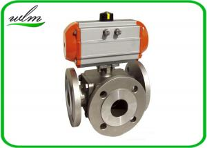 China Light Weight Sanitary Ball Valves Aluminum Pneumatic Actuator , Flanged Connection End on sale