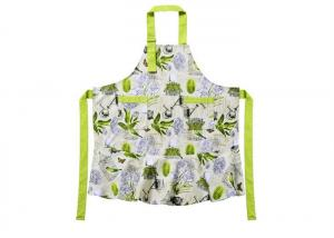 China Flower Pattern Cotton Canvas Material Women Bib Cotton Kitchen Apron With Adjustable Neckline on sale