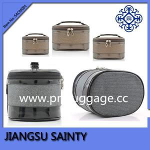 China Beautiful cylinder-shaped pu travel cosmetic bag on sale