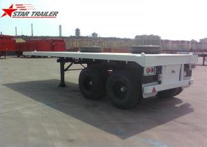 China Two Axle 20FT 8 Tires White Flatbed Car Trailer With Twist Locks , Long Life on sale