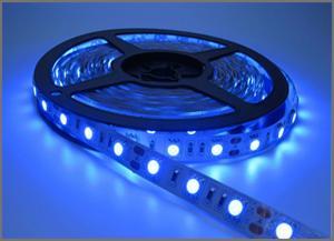 China Ribbon Led Tape Flexible Blue LED Light Strip IP20 12V 5050 SMD 60leds 300 LEDs 60leds/M Holiday Light on sale