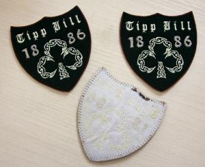 China Brown RPET Personalised Embroidered Badges Logo Shape Personized on sale