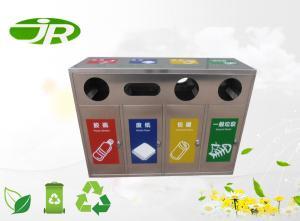 China 4 Separation Stainless Steel Litter Bin Large Litter Bin For Public Area on sale