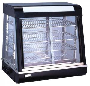 China Black 4 Shelves Food Display Showcase / Tempered Glass Food Warmer Display Case on sale