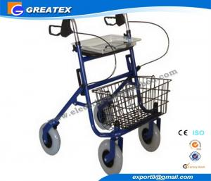 China Economy Durable Steel Folding Rollator Walker with Four Wheel For Handicapped on sale