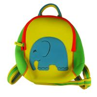 Zippered Cute yellow neoprene children backpack camping bag with elephant embroidery,lovely animal school bags