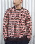 100 % Lambswool Jacquard Knit Sweater Fair Isle Floating For Male Striped