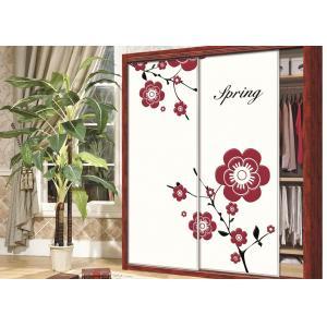 China Beautiful Pink / Purple Flower Wardrobe Sliding Door , Carved 9mm UV MDF Board on sale