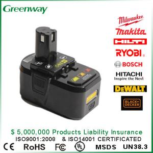 China 18v 3000mAh Electric tool battery Replacement Lithium Battery for Ryobi P104 Electric tool on sale