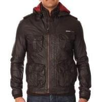 S M L XL nylon soft Shell winter warm Fleece Lined Leather jacket for men