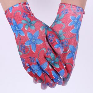 China Print Polyester Liner Flower Design PU Coated Garden Gloves PU Work Gloves on sale