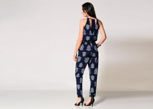 China Print Navy Sexy Black Jumpsuits For Women , Plus Size Rompers With Keyhole on sale