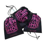 promotional black customize printing recycled NY shopping plastic drawstring bag for gift