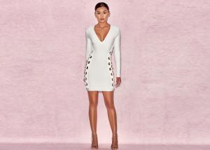 China Newest Long Sleeves V-neck Side Out Women Fashion Midi Bandage Dress on sale