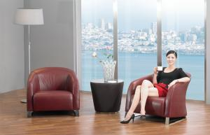 Quality Elegant Hotel Lobby Sofas , Modern Italian PU and Leather Arm Chairs for sale