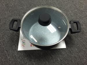 China Aluminum casserole with lid/inner non-stick marble coating/heat resistant painting on sale