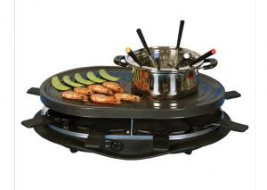 China Home non-stick Black Electric BBQ Grill XJ-3K076PO with fondue set on sale