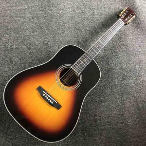 China Custom Folk Guitar AAAA Solid Spruce Wood Folk Electric Guitar COCO Back Side Classic D Type 28 Style 41 Inch Guitar on sale