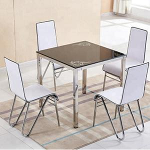China Stylish Glass Top Dining Room Table , Tempered Glass Top Dinette Sets square desktop dining table with stain steel leg on sale
