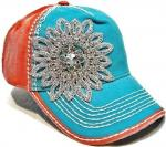 Charming Sparkle Cotton Unisex Baseball Caps With Floral Rhinestones Crystal