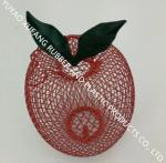 Lovely feeder,Round Iron Mesh Bird Nut Feeder Powder Coated Finishing Red Pineapple With Green Leave