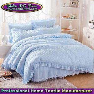 China Light Blue Quited Romantic Bed Skirt Set with Lace Decoration Twin Full Queen King Size Be on sale