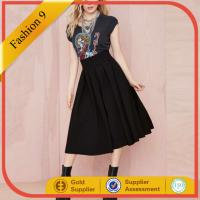 China Black Pleated Midi Skirt on sale