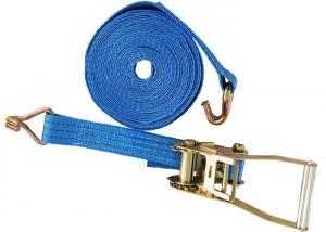 China Lashing Belt Ratchet Tie Down Straps With Hooks Wear Resistant Blue Color on sale