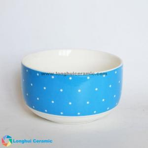 China 8'' Blue exterior&small white dots decal printed ceramic bowl, custom pattern can be printed on sale